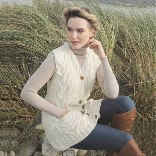 Natural Aran Wollen Mills B850-367 Women/'s Aran Wool Waistcoat 100/% Irish Wool