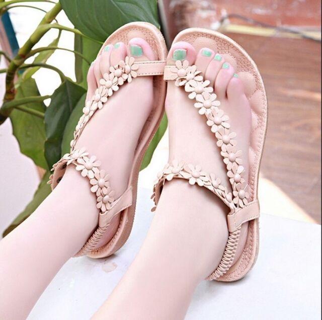 Bohemia Womens Ladies Flat Heels Clip toe Roman Sandals Shoes Gladiator 4 Size