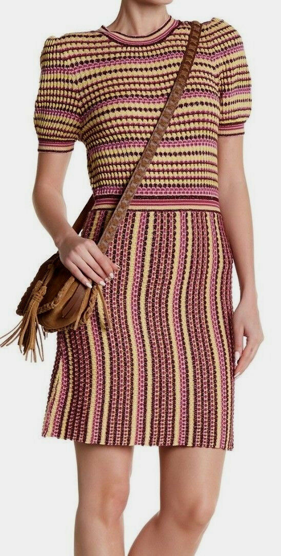 Free People OB723956  Into You Mini Dress, Short Sleeves Größe XS in Rosa Combo