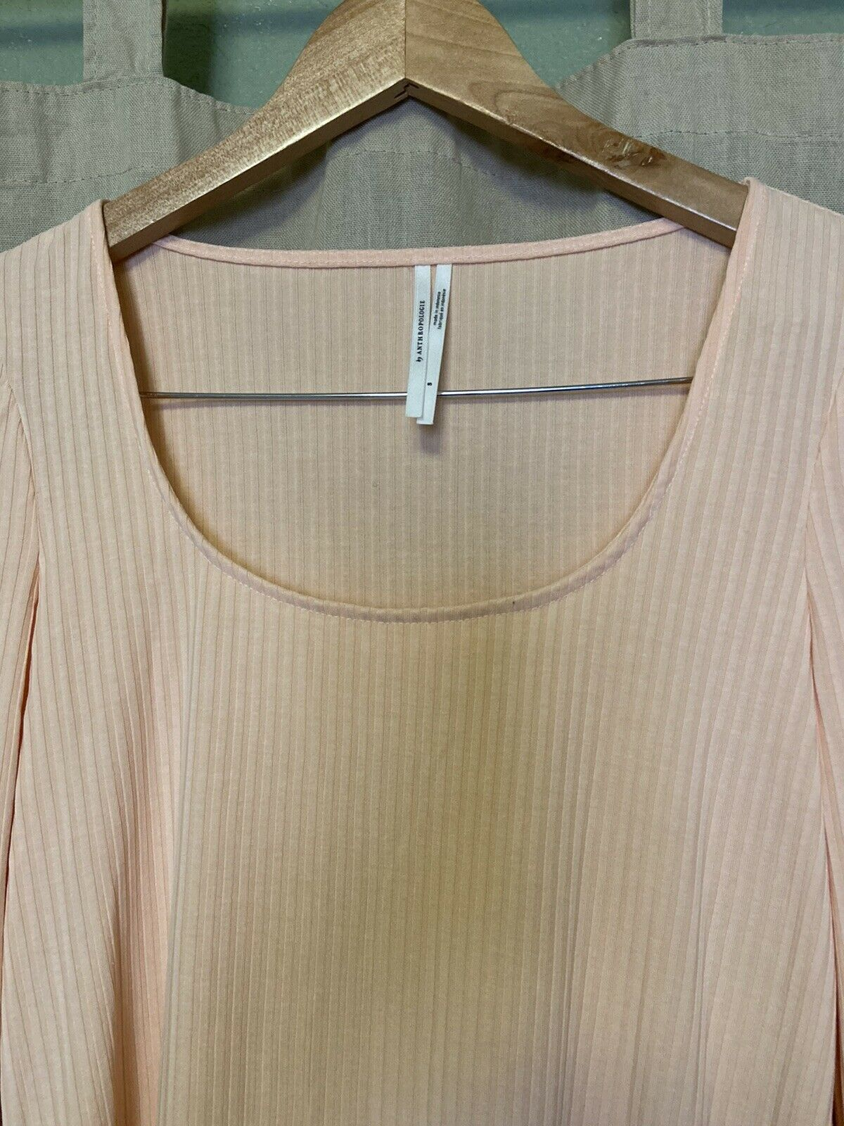 Anthropologie Size Small Peach Ribbed Long Sleeve… - image 2