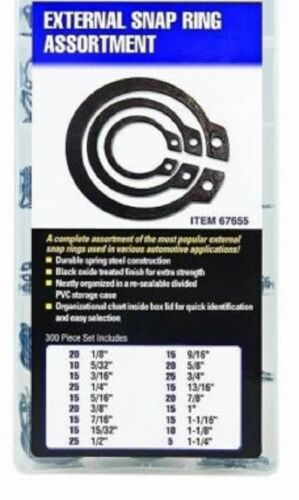 300 Pieces External Snap Ring Assortment Kit Set Circlip 18 Sizes Retaining Ring