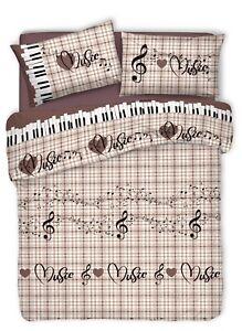 Copripiumino Musica.Copripiumino 100 Cotone Musica Note Cuori Singolo Marrone Italy
