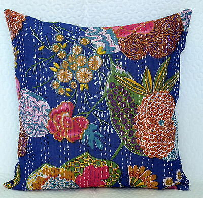 Indian Textile Blue Floral Kantha Cushion Pillow Cover Throw Ethnic Decor Home