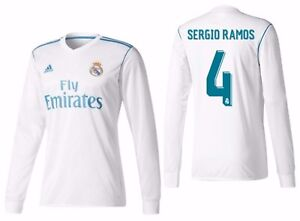 purchase cheap a0902 30342 Details about ADIDAS SERGIO RAMOS REAL MADRID LONG SLEEVE HOME JERSEY  2017/18.