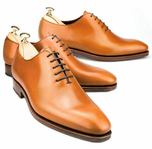 Mens-Handmade-Formal-Shoes-Oxford-Whole-Cut-Tan-Leather-Fashion-Dress-Wear-Boots