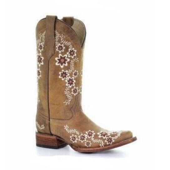 Circle G By Corral Ladies Tan Floral Embroidery Square Toe Boots L5382