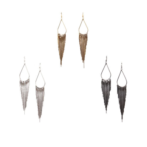 Rétro Chic Longue Chaîne Tassel Dangle Ear Stud Clip Boucles d/'oreilles Femme FASHION JEWELRY
