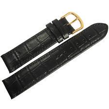 19mm Mens Fluco Kroco Black Crocodile-Grain Leather GOLD Buckle Watch Band Strap