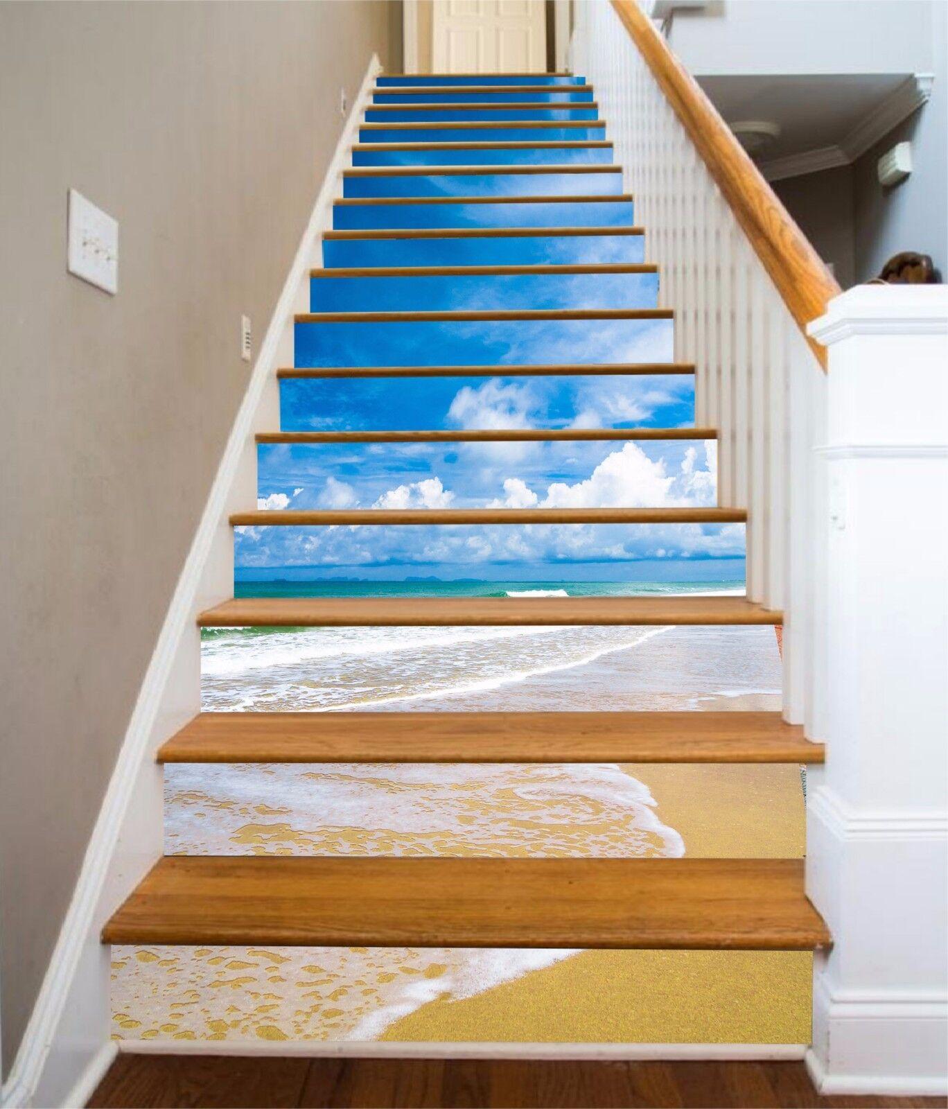 3D Blau sky beach 23 Risers Decoration Photo Mural Vinyl Decal WandPapier US