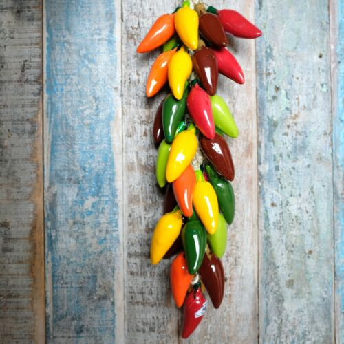 Handmade Ceramic Chillies on String Jalapeño Multicolour XL
