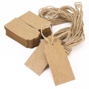 100 X Vintage Blanc Marron Papier Kraft Hang Tags Wedding Favor Label Cartes-cadeaux-afficher Le Titre D'origine