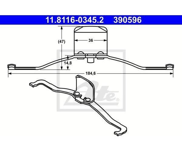 Feder Bremssattel für Bremsanlage ATE 11.8116-0310.1