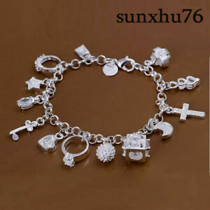 Wholesale-925Sterling-Solid-Silver-Jewelry-Crystal-13-Charms-Bracelet-Women-H144