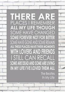 THE BEATLES - In My Life - Word Wall Art Typography Words ...