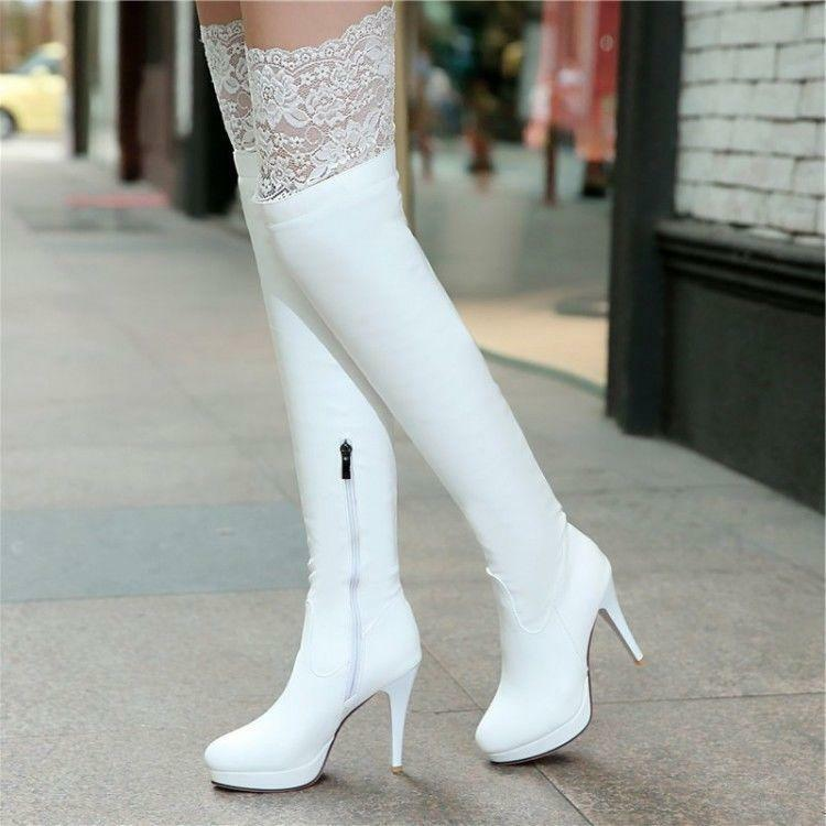 New Women Over The Knee High Thigh Leg Boot Lace Warm High heels Stilettos shoes