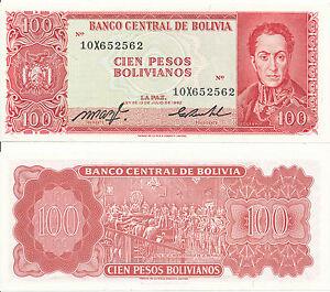 Bolivia-Bolivia-100-Pesos-Bolivianos-1962-XF-Pick-164c