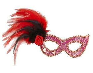 Pink Eye Mask Rose Feathers Masquerade Ball Party Moulin Rouge