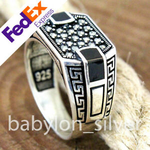 925 Sterling Silver Plain Band Turkish Handmade Onyx Men/'s Luxury Ring All Sizes