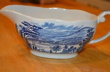 Liberty Blue Staffordshire Lafayette Landing at West Point Gravy Boat  England