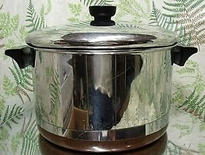 REVERE-WARE-6-QUART-STOCK-PAN-POT-COPPER-BOTTOM-1801-COOKWARE-WITH-LID