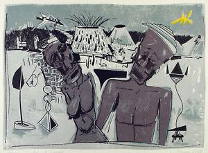 DDR-Kunst-Iceland-Lovers-1988-Lithogr-Wolfgang-HENNE-1949-D-handsigniert