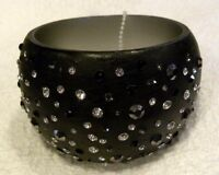 Iris Apfel Bangle Bracelet, Black Wide Bangle With Multi Crystals,