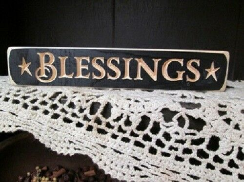 "NEW! Primitive Country Rustic Distressed Black /"" BLESSINGS /"" Shelf Sitter Sign"