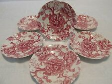 6 Johnson Brothers Vtg ENGLISH CHIPPENDALE TEA SAUCERS Red Pink Ironstone ss