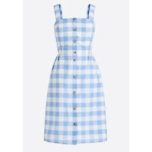 J.CREW Women's Blue White Gingham Button Front Spring Summer Dress size 6 L6976