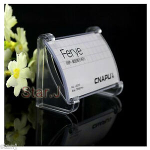 10pcs clear acrylic desktop business card sign display holder price image is loading 10pcs clear acrylic desktop business card sign display reheart Choice Image