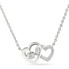 """""""Dancing Stone""""  CZ Two Heart Pendant Necklace with 18"""" Cable Chain Silver 925"""