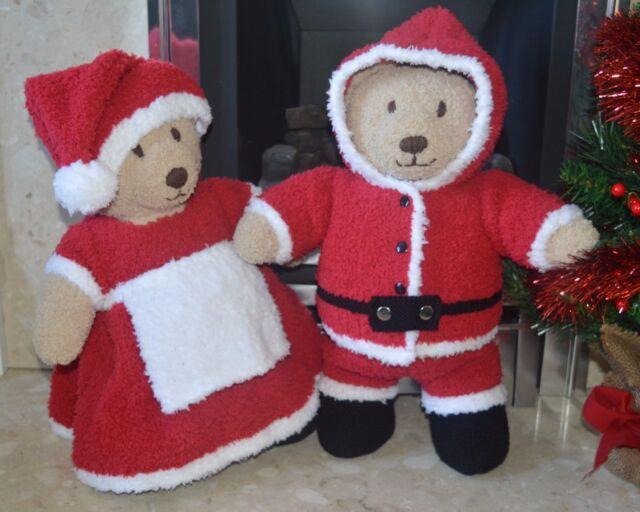 Knitting Pattern Teddy Bear Clothes Santa And Mrs Claus Sirdar
