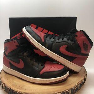 2013 Nike Air Jordan I Retro 1 High OG BRED BLACK RED WHITE TOE ... 2f1c48d30