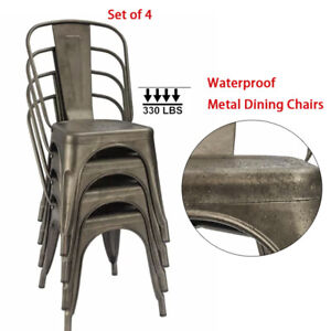 Set-of-4-Metal-Dining-Chairs-Set-Stackable-Patio-Garden-Outdoor-Side-Chairs-Gun