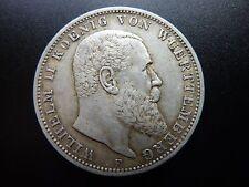 1909 F Germany Drei 3 Mark 'Wilhelm II Wuerttemberg' Deutsches Reich, Offers