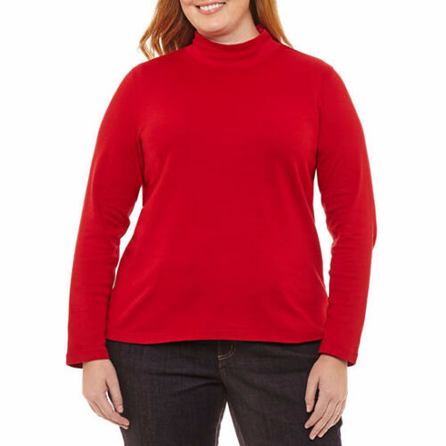 John/'s Bay Women/'s Long Sleeve Mock Neck Shirt Rumba Red Size X-Large St