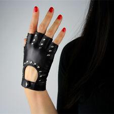 Real Leather Fingerless Short Gloves Black Rock Rivets Stud Lambskin Bicycle