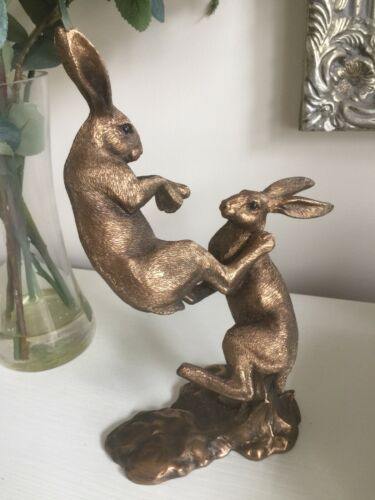 Fighting Hares ornament figurine bronze effect resin Leonardo Gift boxed 27cm