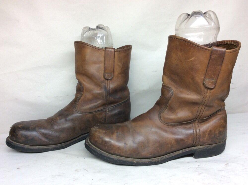 Vintage Mens rojo Wing Trabajo Con Puntera De Acero Cuero Marrón botas E