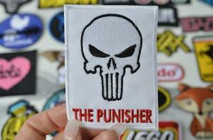 Skull-White-Marvel-THE-PUNISHER-Comic-Book-Skull-Iron-On-Sew-Patch-Patches