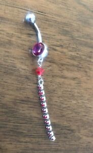 Details About Ruby Crystal Ball Dangle Belly Button Ring 925 Sterling Silver New