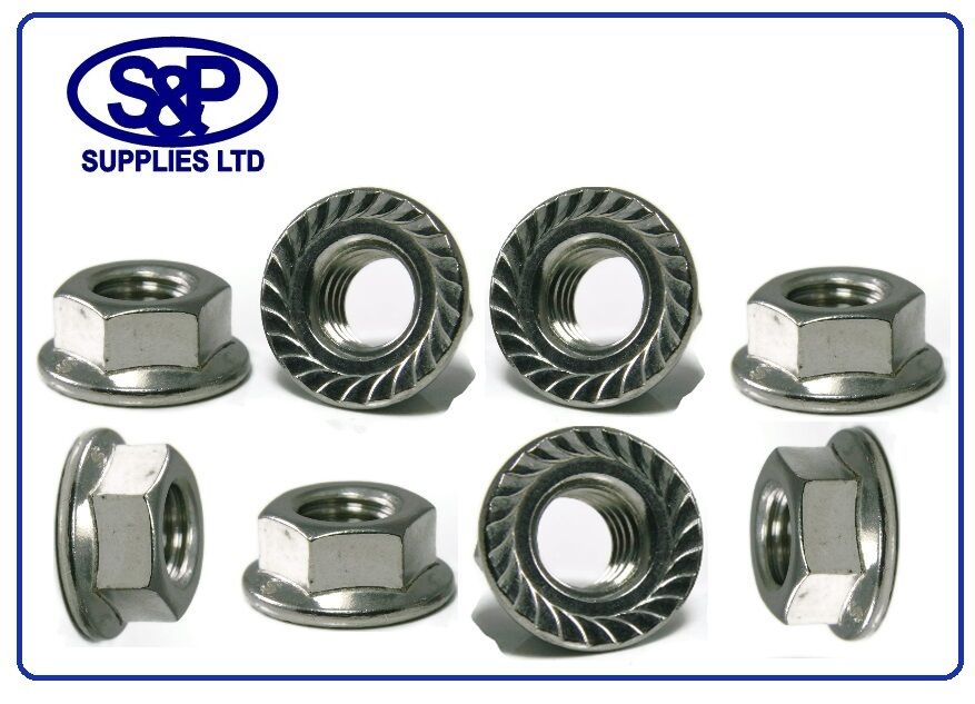 M4 TO M12 STAINLESS STEEL HEXAGON FLANGE NUT 4mm TO 12mm ST STEEL METRIC ST ST