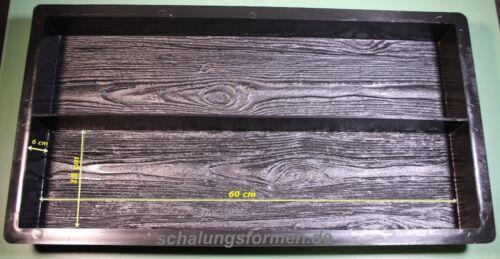 60 x 15 x 6 cm Schalungsform Holzstruktur Holzbohlenoptik Diele 2 x