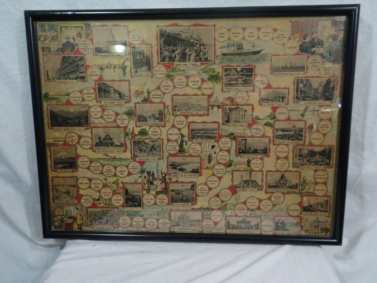 Antigüedad 1896 Parker Brojohers un viaje alrojoedor del mundo tablero de juego 23  X 17