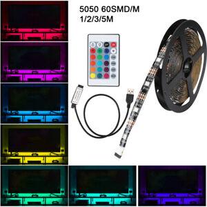 LED Strip Light Bar TV Back Lighting Kit+USB Remote Control 5V 5050 60SMD//M RGB