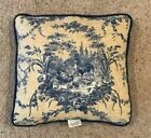 Waverly Pillow La Petite Ferme Blue Yellow Gold French Country Rooster Toile