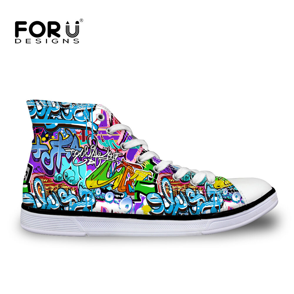 Graffiti Womens Female Lace-up High Top shoes Sneakers Casual Canvas Sport shoes
