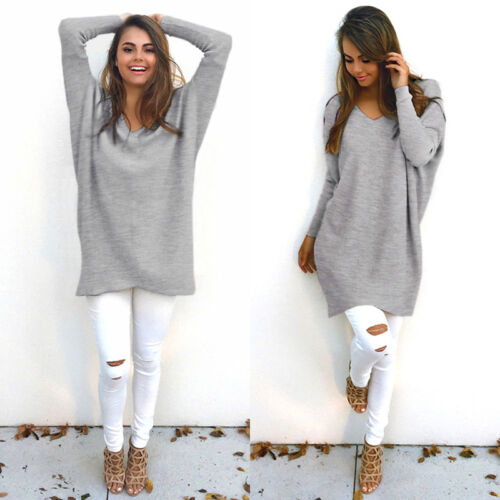 Women Long Sleeve Sweater Dress Blouse Ladies Oversize Knit Jumper Pullover Tops