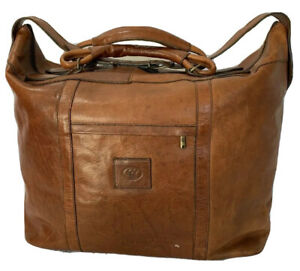 Rare-Vintage-Authentic-Brown-Leather-Duffle-Overnight-Weekend-Bag-Made-in-Italy