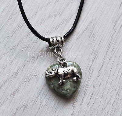 Riolita Corazón /& Rhino colgante collar Damas regalo animal Reiki rinocerontes Amor